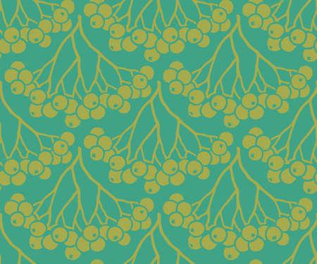 Seamless pattern with bronze rowan berries Illustration