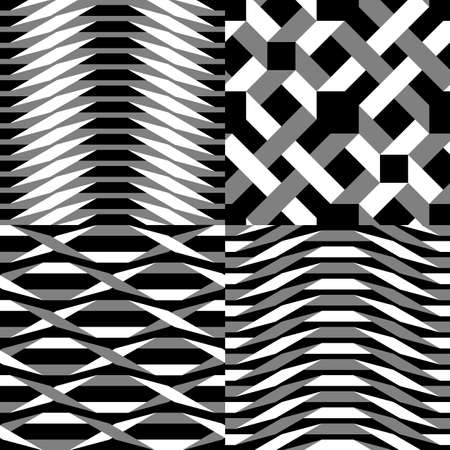 Origami. 4pc set with seamless black and white simple geometric pattern Illustration
