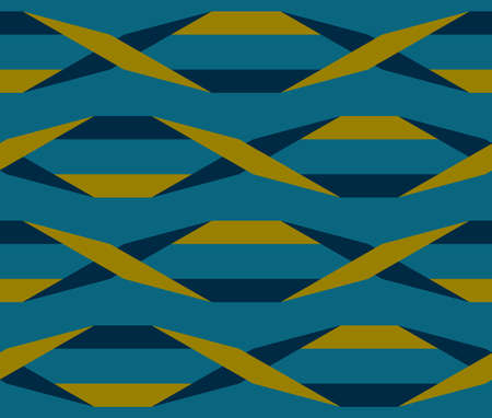 Origami. Seamless turquoise and gold simple geometric pattern