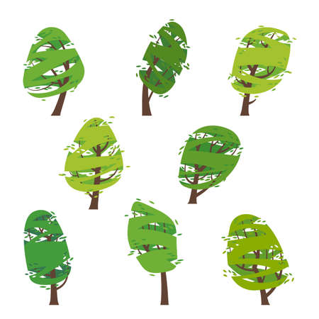 Collection of drawings of stylized green trees. Seasons - Summer