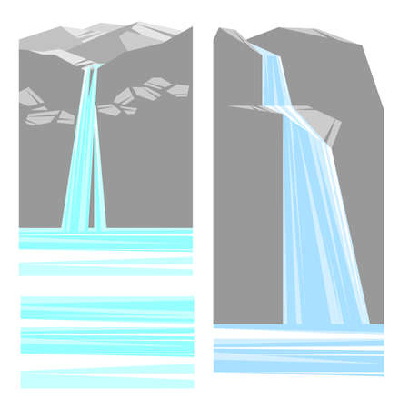 Collection of painted stones and waterfalls, vector illustration. Any season