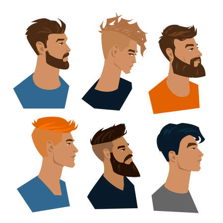 Set of color portraits of young men with a beard and trendy modern haircut.
