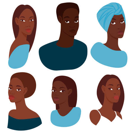 Set of 6 portraits of different beautiful dark-skinned women with different hairstyles and clothes