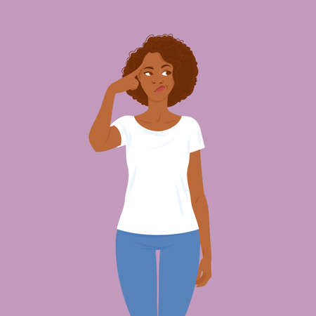Emotions. Young black woman in casual clothes with hair in Afro style thinking. Suitable for animation