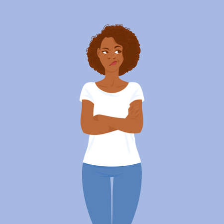 Emotions. Brooding young black woman in casual clothes with hair in Afro style crossed her arms. Suitable for animation Vetores