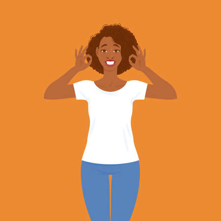 Emotions. Pretty smiling young black woman in casual clothes with hair in Afro style shows that everything is fine, ok gesture. Suitable for animation