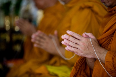 buddhist meditation: Buddhist monks chanting Stock Photo