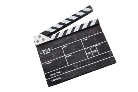 wooden clapper board isolated on white background