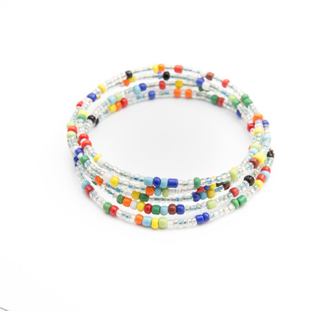 colorful bead bracelet on isolated background