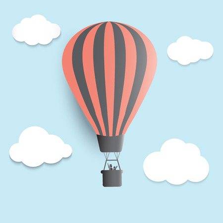 Hot air balloons in the sky vector illustrator photo