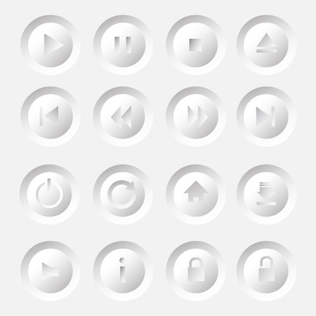 Media Player Icons Set  Vector Illustration illustration