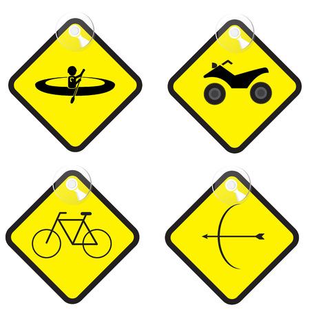 yellow adventure: adventure sign set in yellow tag vector illustration Stock Photo