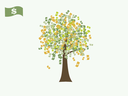 Dollar money currency growing tree