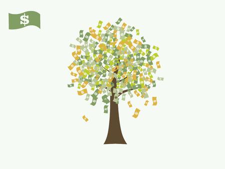 cash money: Dollar money currency growing tree