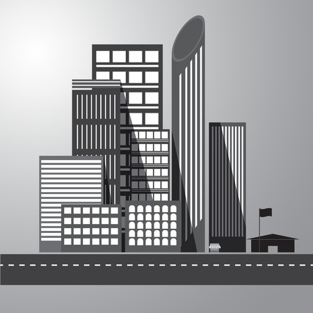 graphical urban building Vector