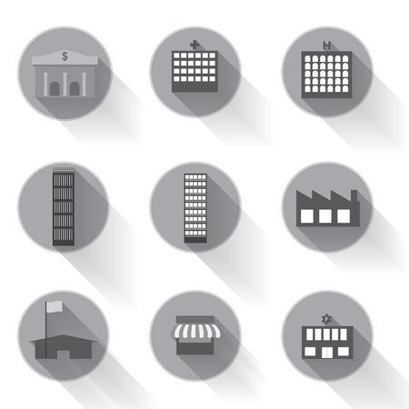 urban building: graphical urban building flat icon design