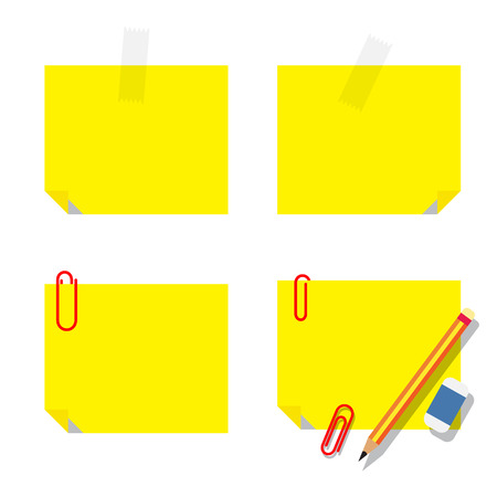 sticky note: vector of yellow sticky notice papers with stationery on white background