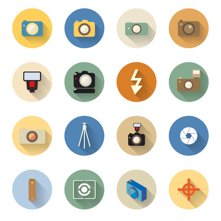 vector set of camera icons in flat design with long shadows Vector