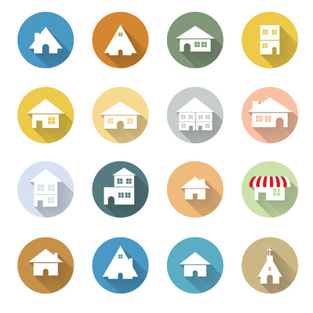 urban building: vector of graphical urban building flat design icon EPS10 Illustration