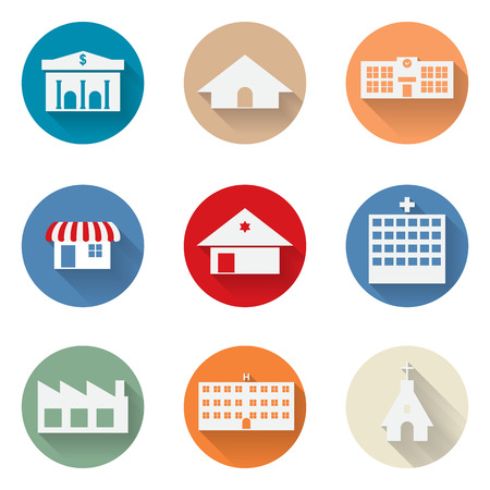 urban building: vector of graphical urban building flat design icon