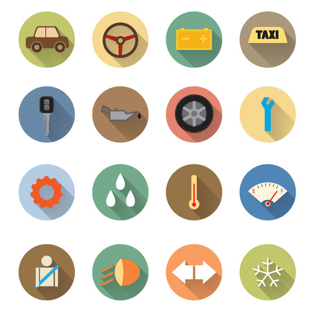 Flat design of Car service icons set Vector