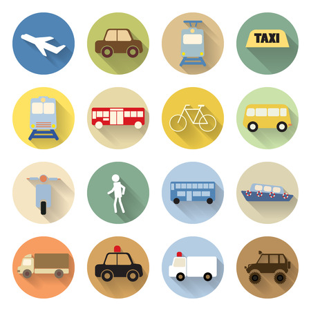 set of transportation icon flat style with long shadow