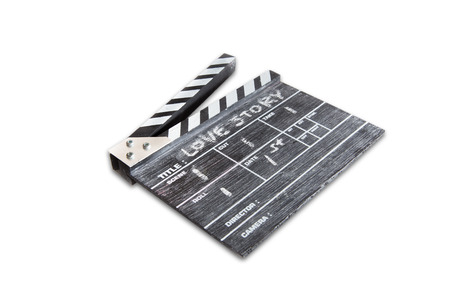 wooden clapper board on white background Title Love story photo