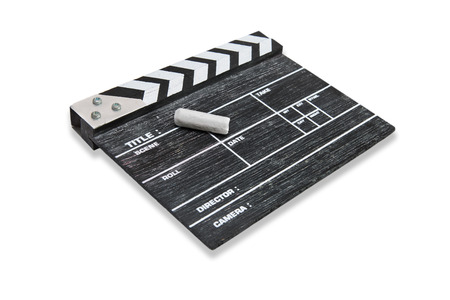 wooden clapper board on white background photo