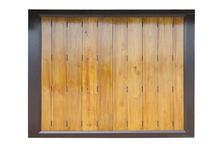 wooden partition: closed wooden partition panel on white background Stock Photo