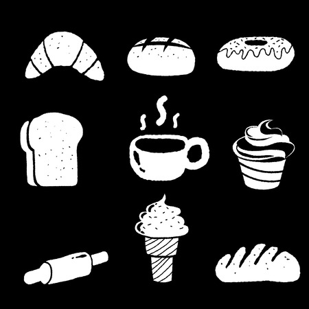 illustration of bakery icon set on black background