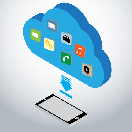 downloading from cloud storage concept Vector