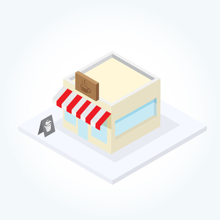 coffee shop building in isometric view Vector
