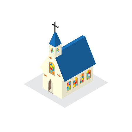 church building: church building model colorful glass windows Illustration