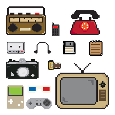 pixels art old item technology icon Vector