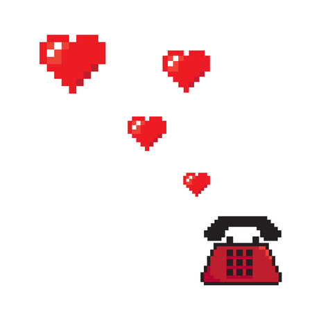 calling art: calling love flying hearts from old telephone pixels art style