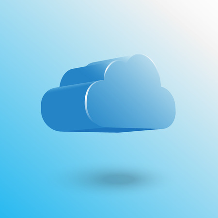 3D blue cloud floating with shadow Vector