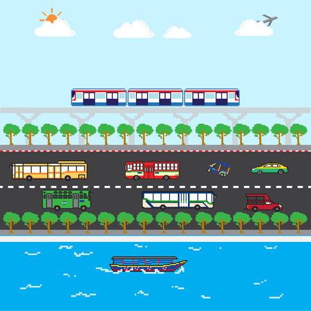 ideal: Bangkok traffic ideal public trasportation pixels art