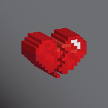 Pixels art heart broken designs love concept