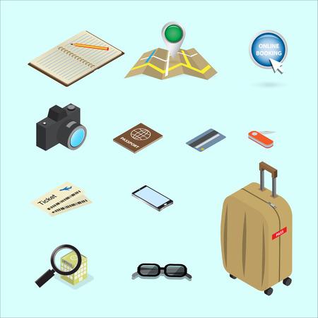 multifunction: travel icon isometric concept design
