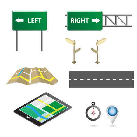 the navigator: road sign with navigator map icon