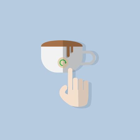 cappucino: vinger de hand klik op de knop op de koffiekop plat ontwerp vernieuwen