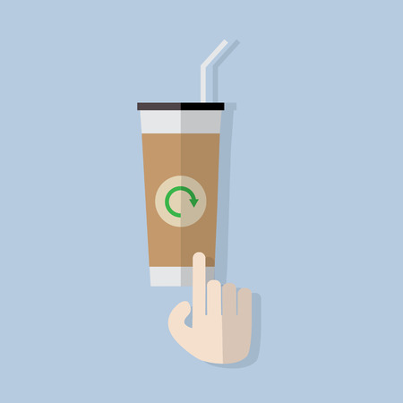 click button: finger hand click button on coffee cup to refresh flat design Illustration