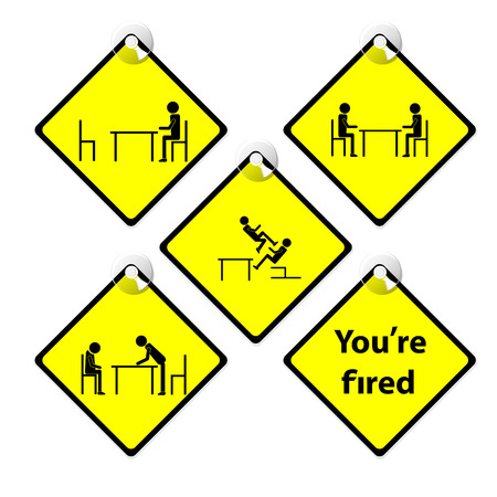 complain: set of yellow tag You are fired story boss complain employee Illustration