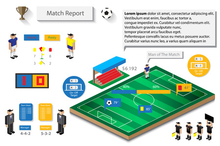 soccer match statistic report infographic 일러스트
