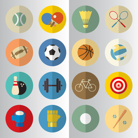 half  cut: Flat design of sport half cut icons Illustration