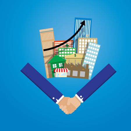 business man shake hand with group of real estate building and growing graph cooperate concept