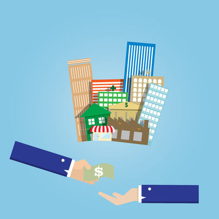 immovable property: business man hand buy and sell group of real estate building Illustration