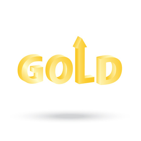 indicating: precious Gold value symbol with up arrow indicating increasing price