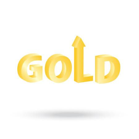 increasing: precious Gold value symbol with up arrow indicating increasing price