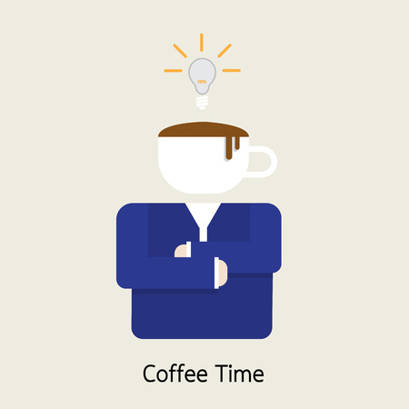energize: businessman getting ideas with coffee Illustration